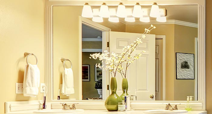 Light bathroom electrical repair and installation in luxurious bathroom