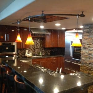 Custom Electrical lighting installed in a new kitchen remodel